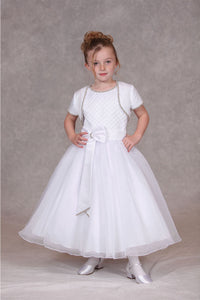 Short Sleeves Jacket with Rhinestone Trim Flower Girl Dresses