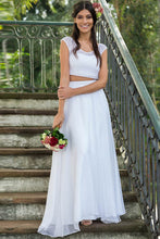 A-Line Two-Piece Lace Top Chiffon Wedding Dresses