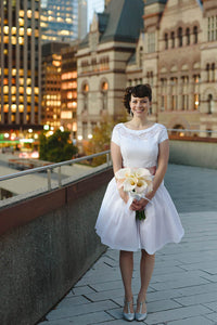 A-line Short Sleeves Knee-length Wedding Dresses