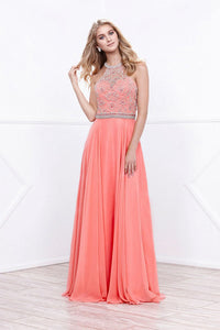 A-Line/Princess Halter Floor-Length Chiffon Prom Dresses