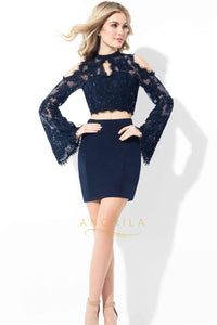 Lace Combo Short Cocktail Dresses with Cold Shoulders and Bell Sleeves