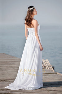 Strapless Sleeveless Long Chiffon Bridal Beach Wedding Dresses