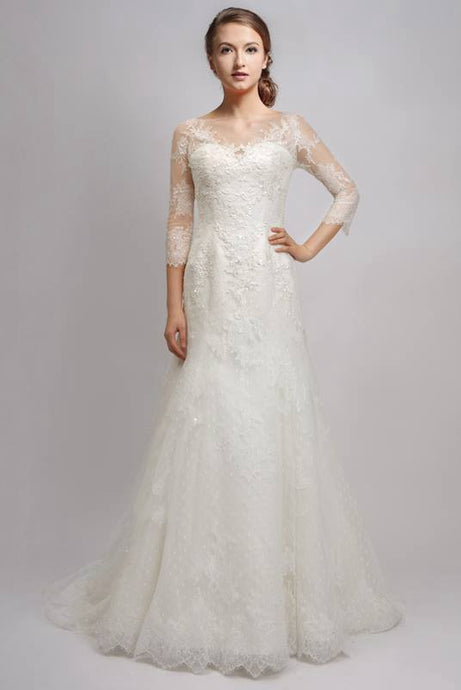 A-Line Lace Wedding Dresses with Sleeves