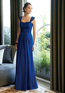 A-line/Princess Sleeveless Pleated Long Chiffon Bridesmaid Dresses