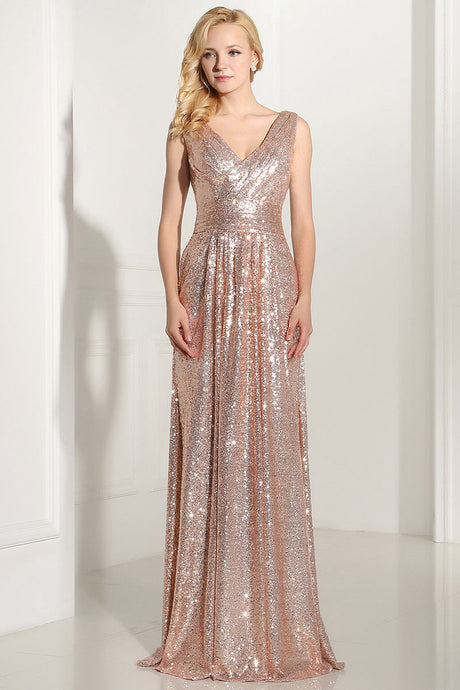Sleeveless V-neck Long Sequined Formal Prom Dresses
