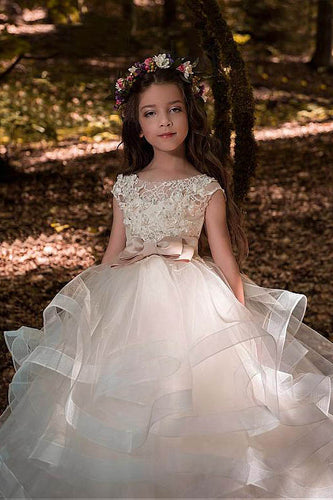 Ball-Gown Scoop Neck Champagne Flower Girl Dress with Bow(s)