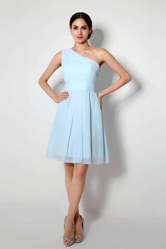 Charming Knee-length One Shoulder A-line Chiffon Bridesmaid Dresses