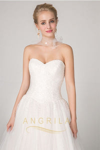 Ball-Gown Sweetheart Court Train Tulle Wedding Dress