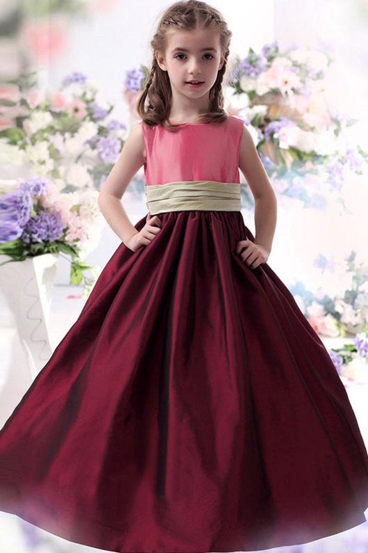 Ball Gown Sleeveless Long Flower Girl Dresses