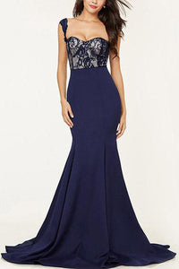 Lace Regular Straps Sweetheart Empire Mermaid Formal Dresses