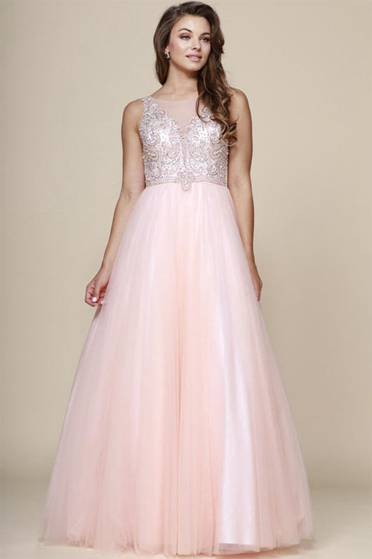 Sequins Sleeveless Beading Long Tulle Formal Prom Dresses