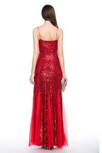 Spaghetti Straps Sleeveless Sheath/Column Long Sequined Evening Dresses