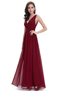 A-Line V-neck Floor-Length Tulle Prom Dresses With Ruffle