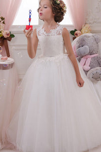A-Line Ball Gown Lace Sleeveless Long Flower Girl Dresses