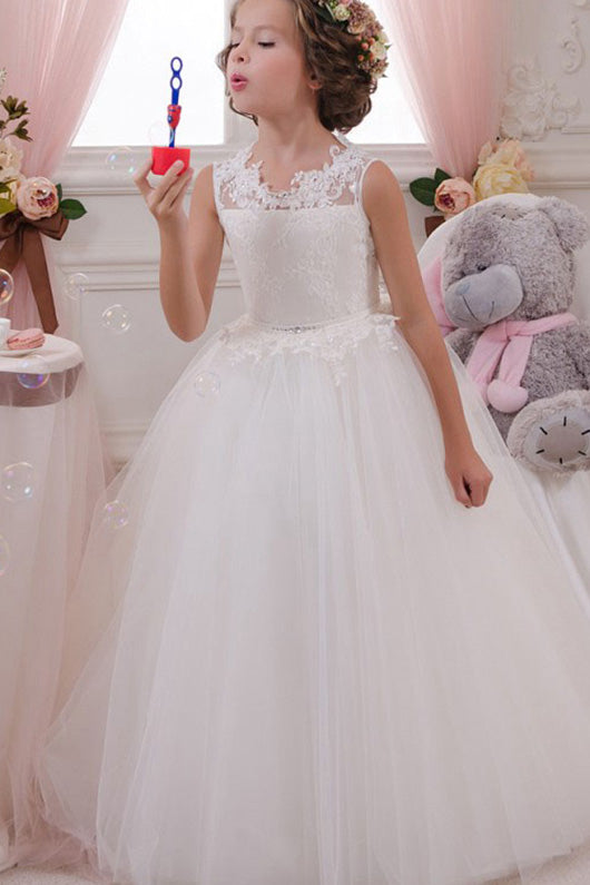 Ball Gown Lace Sleeveless Long Flower Girl Dresses