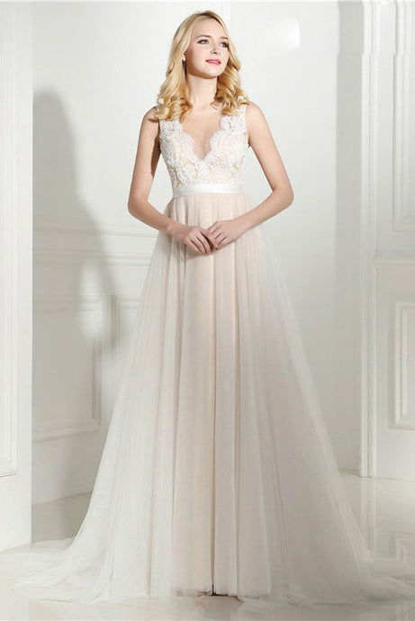 A-Line/Princess V-neck Court Train Wedding Dress with Applique