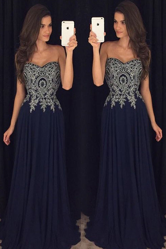 A-line Strapless Sweetheart Lace Appliques Long Chiffon Prom Dresses
