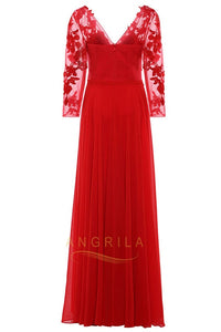 A-line Long Sleeves V-Neck Appliques Floor-Length Prom Dresses with Applique