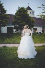 A-line Strapless Ruffled Organza Wedding Dresses