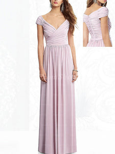 Sheath/Column Off-the-Shoulder Floor-Length Chiffon Prom Dresses With Ruffle