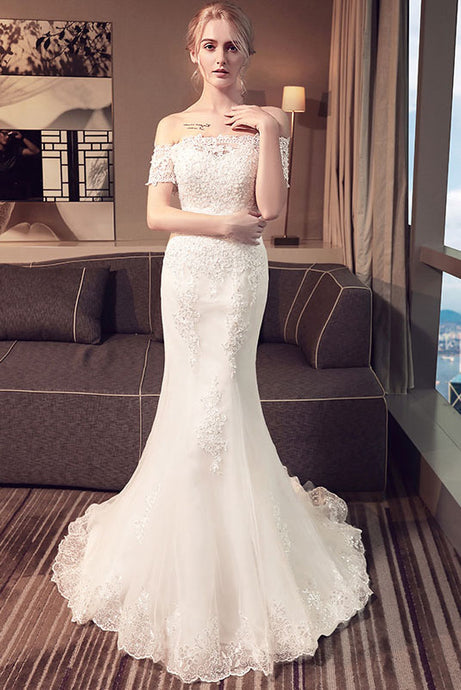 Elegant Trumpet/Mermaid Off-the-Shoulder Short Sleeves Beading Bridal Wedding Dresses