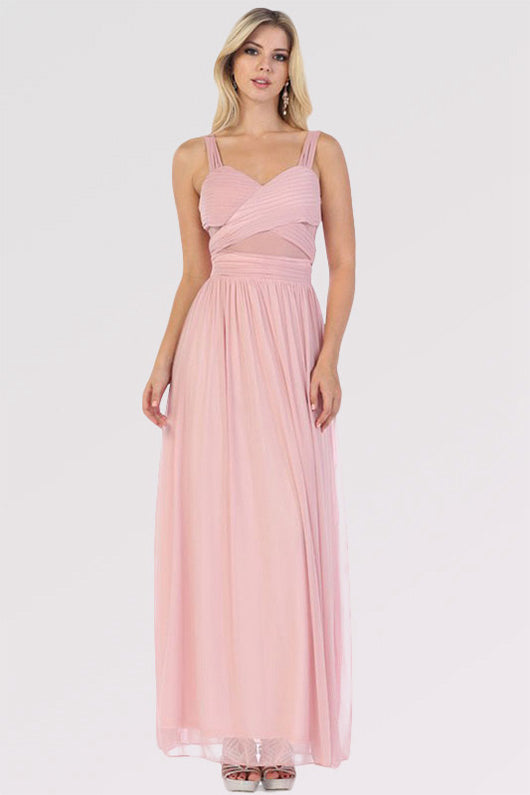 A-line Straps Sleeveless Long Formal Prom Dresses