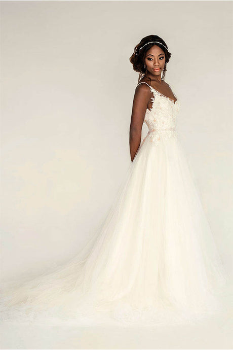 Elegant  A-line Spaghetti Straps Lace Top Tulle Wedding Dresses
