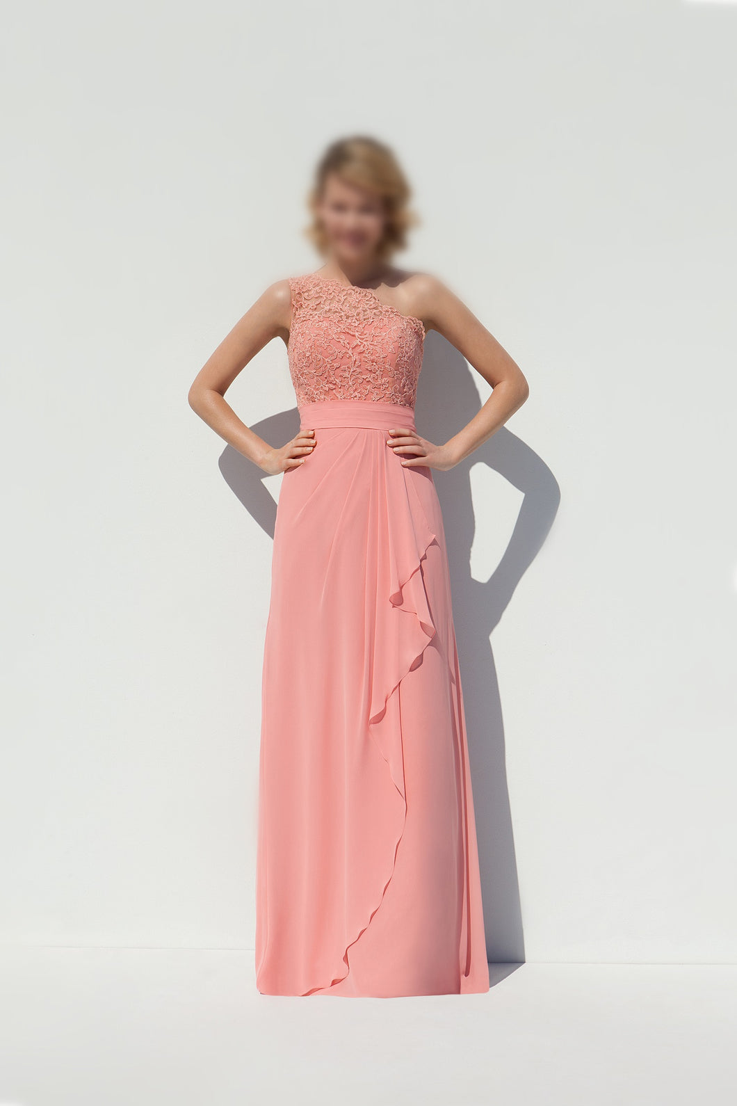 Chic A-line/Princess One-Shoulder Appliqued Long Chiffon Bridesmaid Dresses