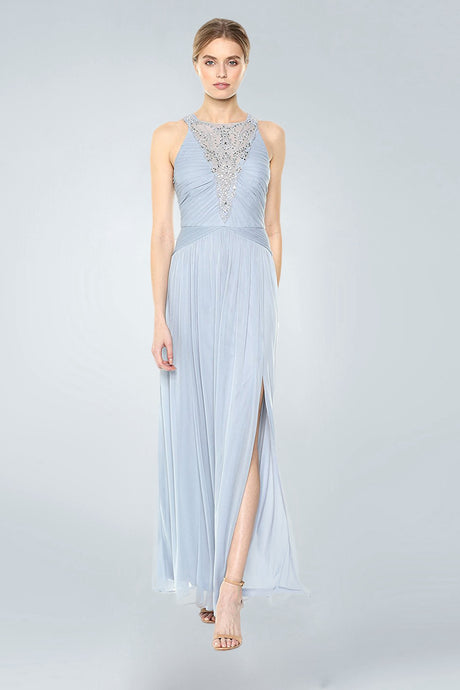 Halter Sleeveless Beading Long Chiffon Formal Prom Dresses