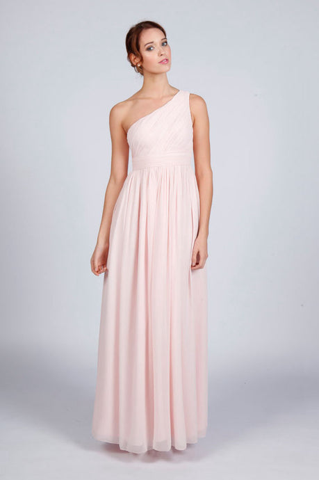 One-shoulder A-line/Princess Pleated Long Chiffon Formal Prom Dresses