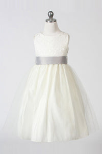 A-Line/Princess Tea-length Flower Girl Dresses with Bow(s)