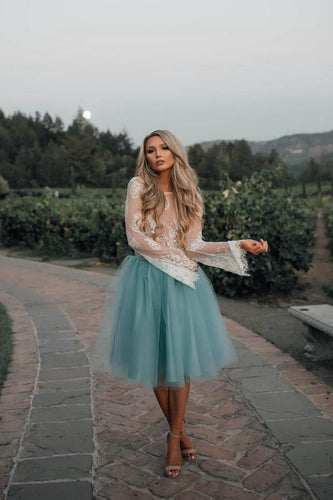 Lace Two-Piece Long Sleeves Homecoming Dresses with Tutu Skirt