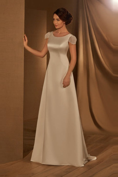 Elegant Satin Wedding Dresses with Cap Sleeves