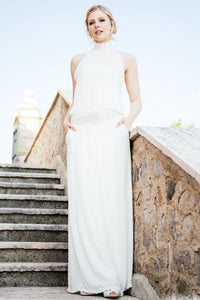 High Neck Sleeveless Boho Wedding Dresses