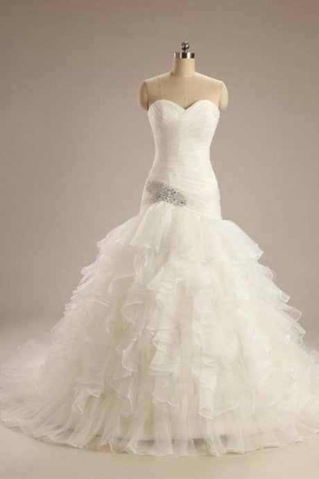Ball-Gown Strapless Chapel  Wedding Dress White Organza
