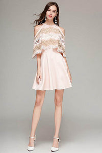 A-Line Classy Lace Jewel Neckline Short Homecoming Dresses