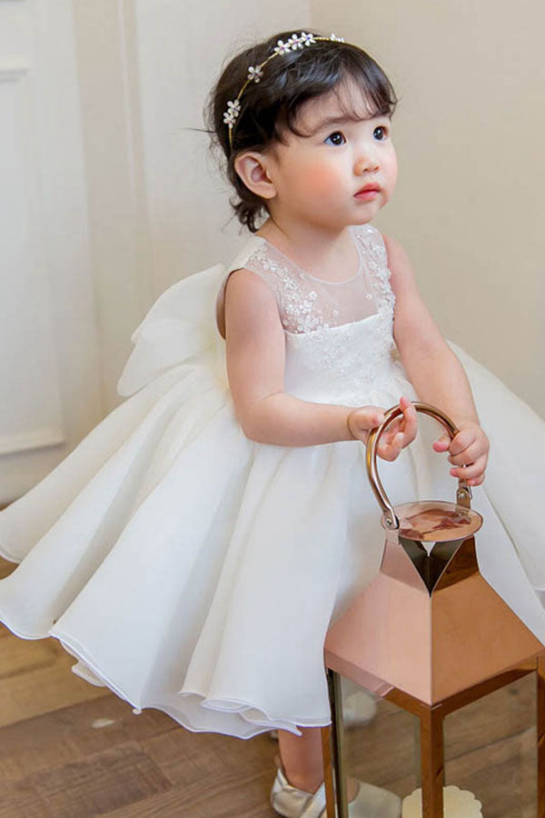 A-Line/Princess Cute Scoop Tulle Flower Girl Dresses