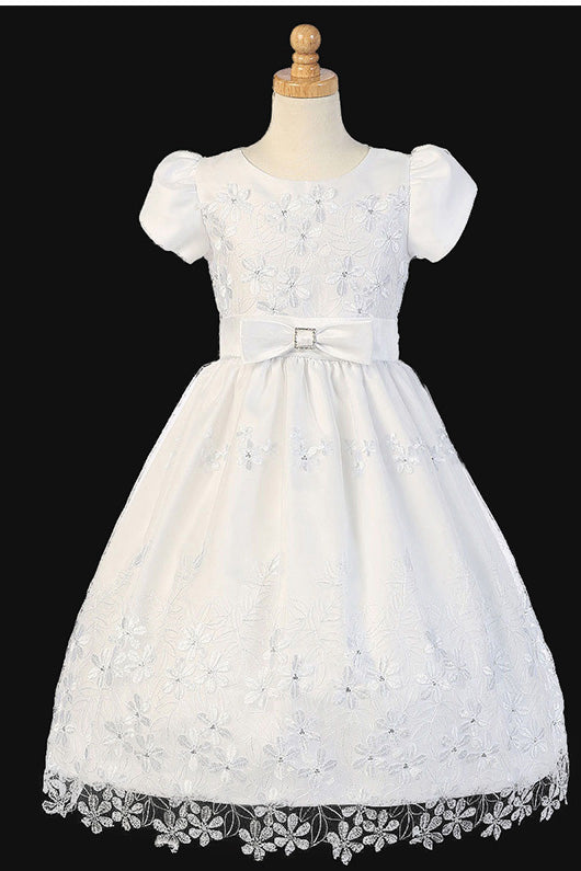 Floral Tea-length Flower Girl Dresses with  Bow(s)