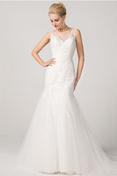 Classic Open Back Lace Appliques Sleeveless Mermaid Bridal Wedding Dresses