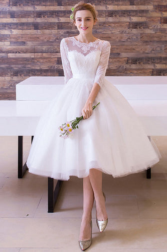 3/4 Sleeves Tea-length Bridal Wedding Dresses