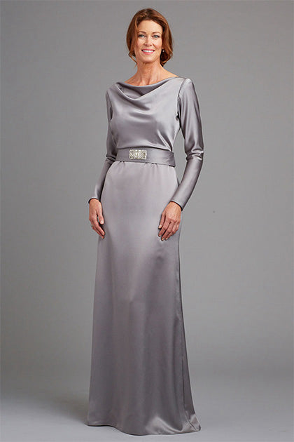 Sheath/Column Cowl Neck Mother of the Bride Dress with Long Sleeves