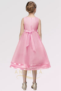 A-line Sleeveless Tea-length Flower Girl Dresses with Flower(s)
