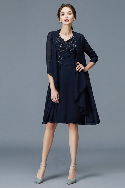 V-neck Chiffon Knee-Length Mother of the Bride Dresses (Jacket included)
