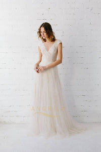 A-line V-neck Cap Sleeves Long Bridal Wedding Dresses