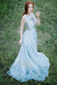 A-Line/Princess Scoop Neck Chiffon Prom Dress with Appliques Lace