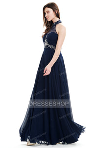 A-Line Halter Neck Floor Length Chiffon Prom Dresses With Sequins
