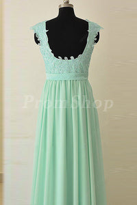 A-Line Scoop Neck Floor-Length Prom Dresses With Lace