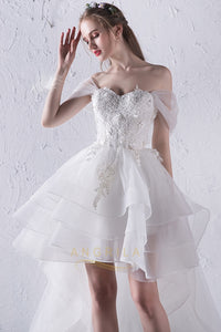Tulle Sweetheart Neckline Cap Sleeves Wedding Dresses