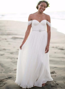 A-line Off-the-shoulder Sweetheart Beading Waistband Long Chiffon Beach Wedding Dresses