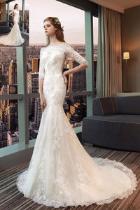 Off-the-Shoulder 1/2 Sleeves Lace Applique Wedding Dresses